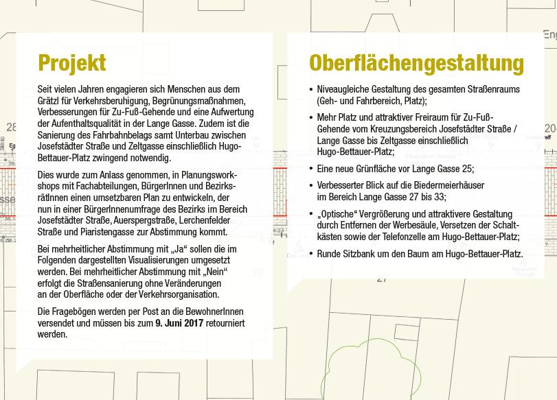 Lange Gasse Folder: Seite Projekt und Oberflächengestaltung; Redaktion & Grafik: Dialog Plus, Claudia Marschall