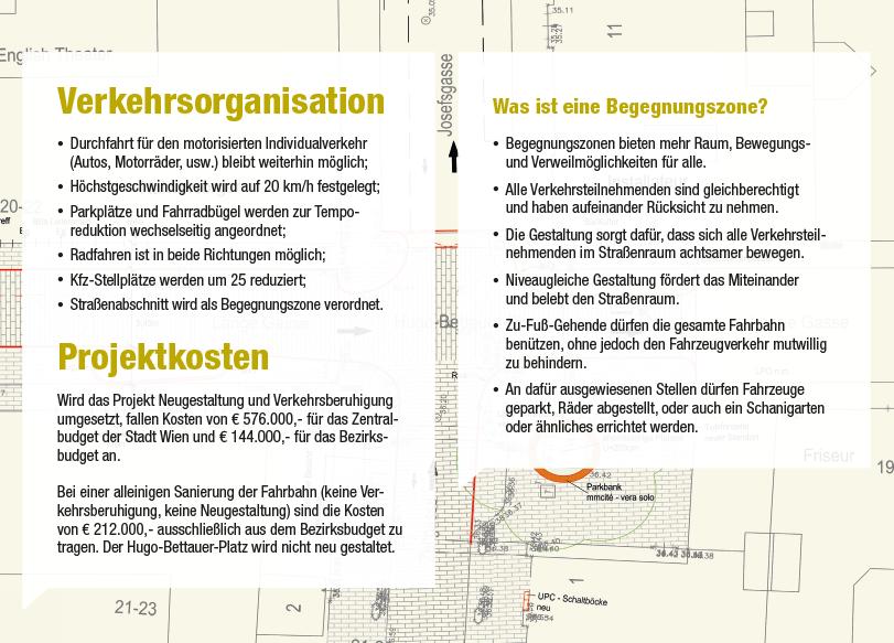 Lange Gasse Folder: Seite Verkehrsorganisation, Projektkosten, Begegnungszone; Redaktion Grafik: Dialog Plus, Claudia Marschall;