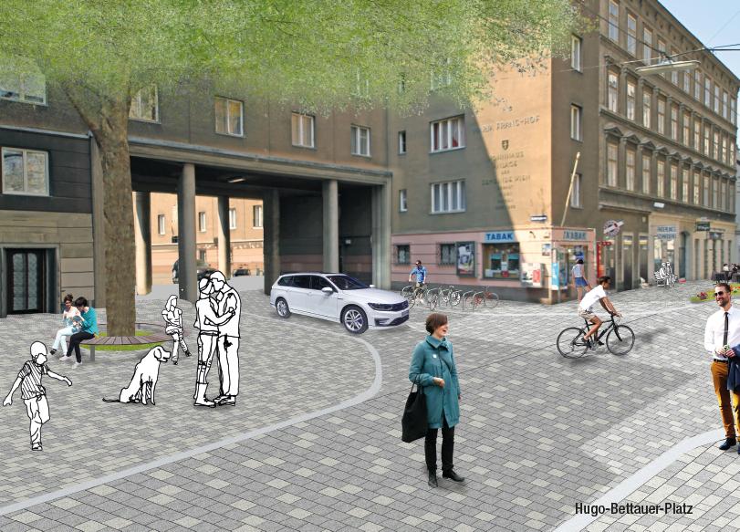 Lange Gasse Folder: Seite Visualisierung Neugestaltung Hugo-Bettauer-Platz; Redaktion Grafik: Dialog Plus, Claudia Marschall; Fotos: (C) Mobilitätsagentur Wien / nonconform