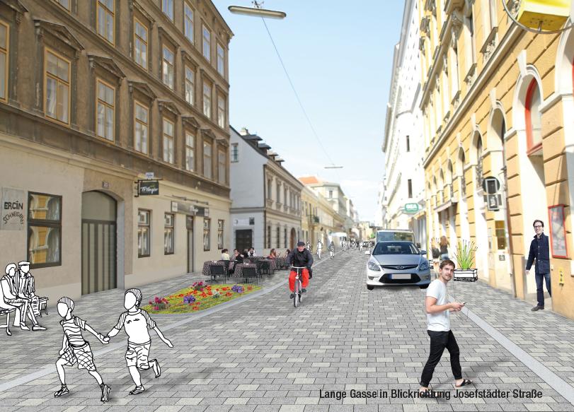 Lange Gasse Folder: Seite Visualisierung Lange Gasse Blickrichtung Josefstädter Straße; Redaktion Grafik: Dialog Plus, Claudia Marschall; Fotos: (C) Mobilitätsagentur Wien / nonconform
