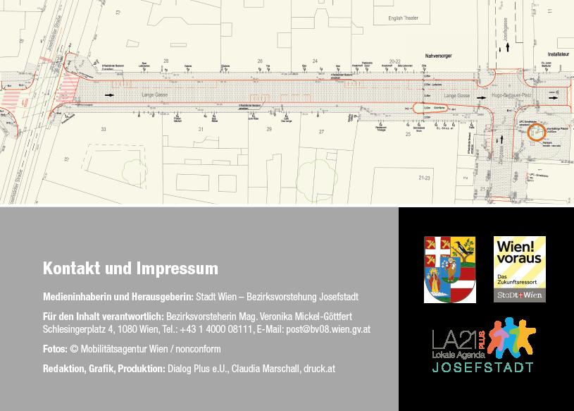 Lange Gasse Folder: Seite Kontakt und Impressum / Plangrundlage; Redaktion Grafik: Dialog Plus, Claudia Marschall;
