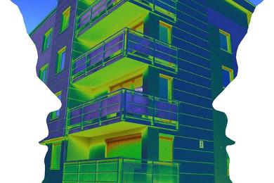 Das Bild zeigt zwei Schemenhafte Gesichter links und rechts im Bild und in der Mitte ein Gebäude mit einer Wärmebildkamera aufgenommen. Bild (c) Trevor Butcher