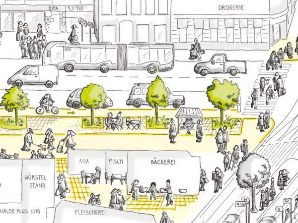 Detailbild Umgestaltung Gersthofer Platzl (C) Dialog Plus